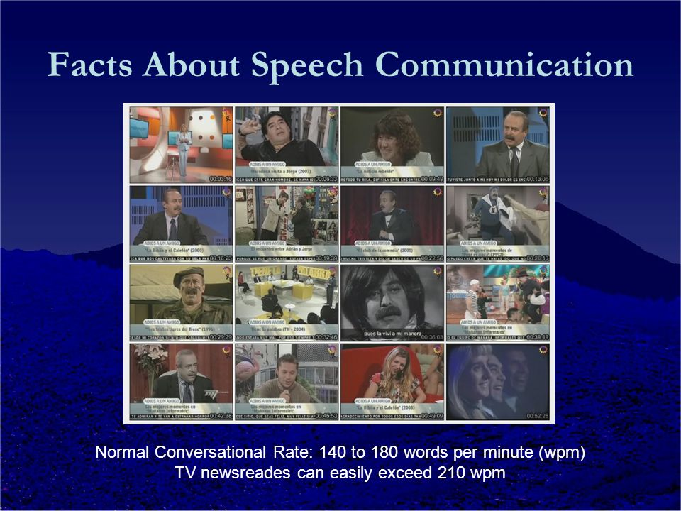 Facts About Speech Communication Normal Conversational Rate: 140 to 180 words per minute (wpm) TV newsreades can easily exceed 210 wpm