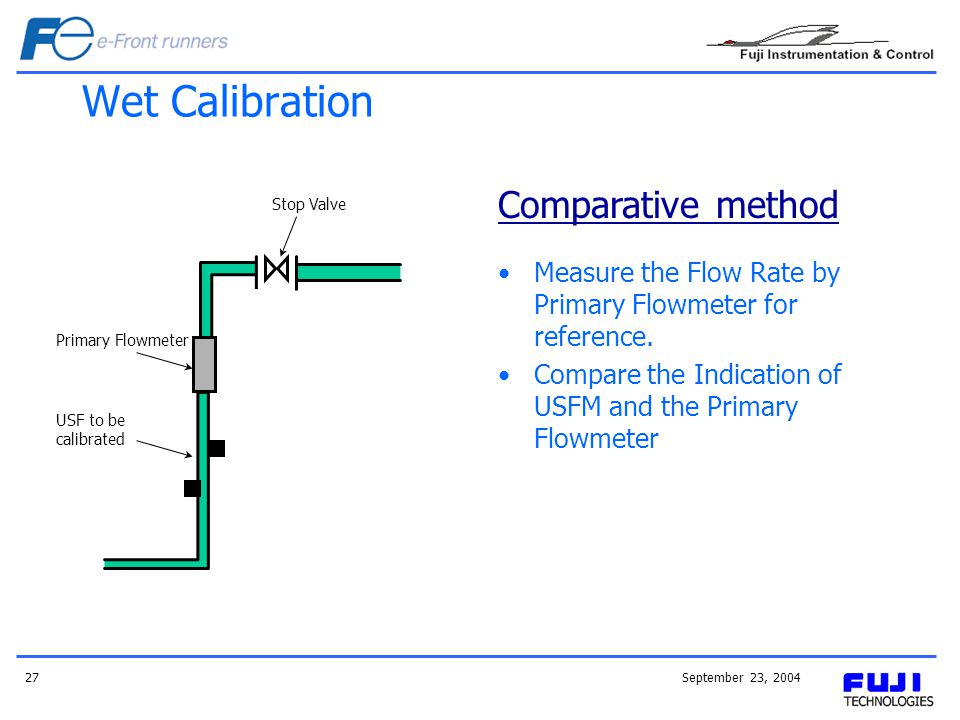 September 23, 200427 Wet Calibration Measure the Flow Rate by Primary Flowmeter for reference.