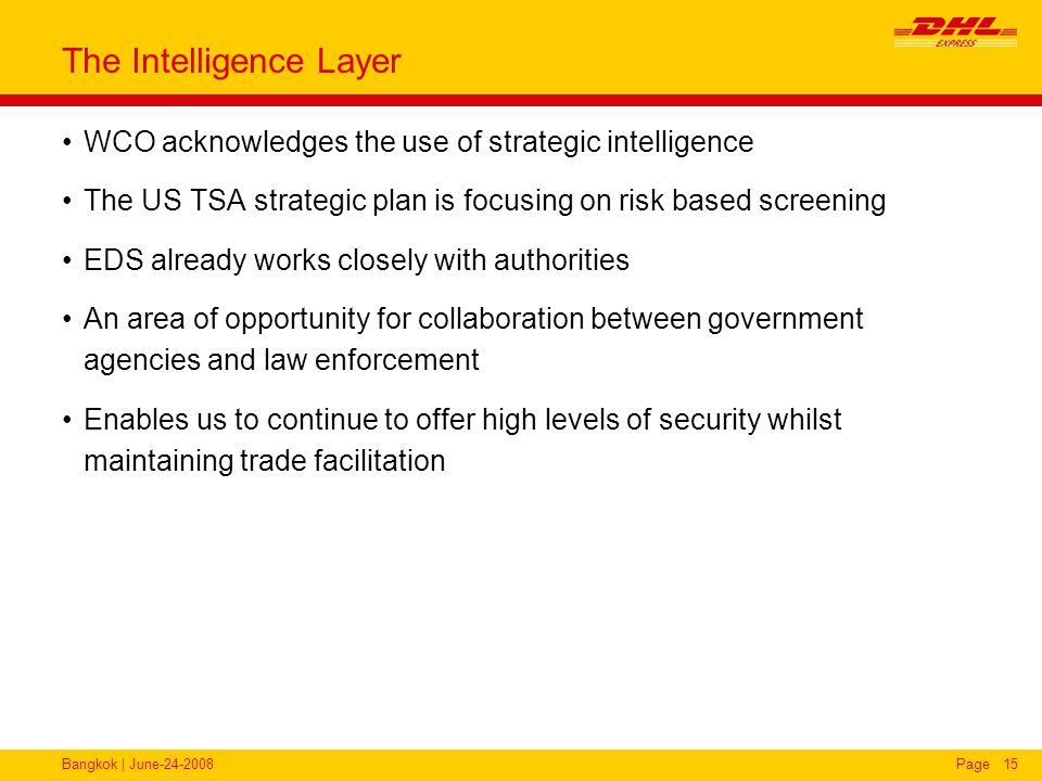 Bangkok | June-24-2008Page15 The Intelligence Layer WCO acknowledges the use of strategic intelligence The US TSA strategic plan is focusing on risk b