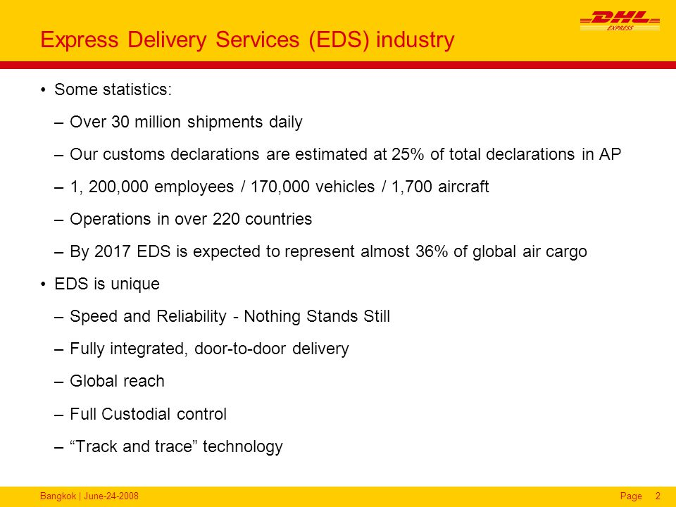 Bangkok | June-24-2008Page2 Express Delivery Services (EDS) industry Some statistics: –Over 30 million shipments daily –Our customs declarations are e