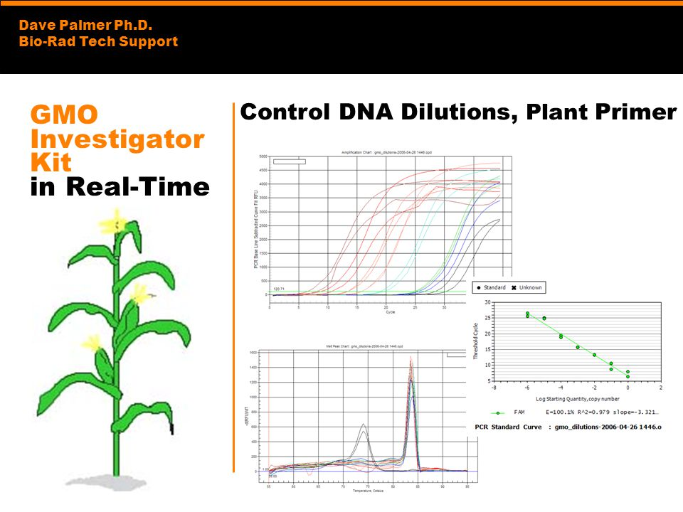 Dave Palmer Ph.D. Bio-Rad Tech Support GMO Investigator Kit in Real-Time Control DNA Dilutions, Plant Primer