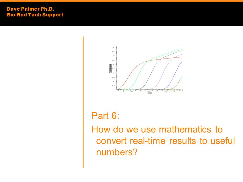 Dave Palmer Ph.D. Bio-Rad Tech Support Part 6: How do we use mathematics to convert real-time results to useful numbers?