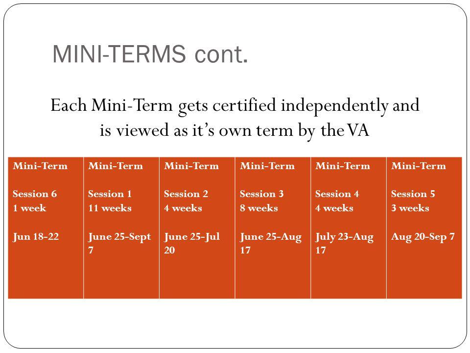 MINI-TERMS cont. Mini-Term Session 6 1 week Jun 18-22 Mini-Term Session 1 11 weeks June 25-Sept 7 Mini-Term Session 2 4 weeks June 25-Jul 20 Mini-Term