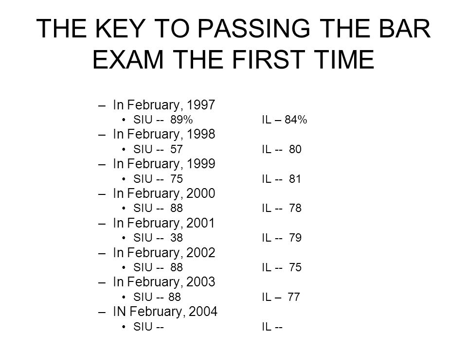 THE KEY TO PASSING THE BAR EXAM THE FIRST TIME –In February, 1997 SIU -- 89%IL – 84% –In February, 1998 SIU -- 57IL -- 80 –In February, 1999 SIU -- 75