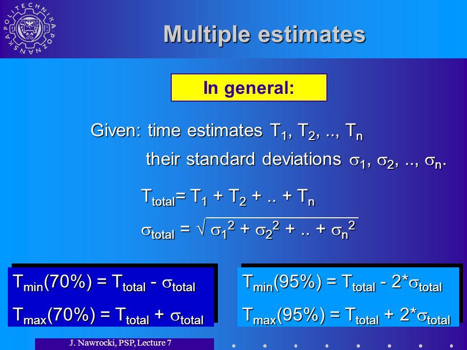 J. Nawrocki, PSP, Lecture 7 Multiple estimates Given: time estimates T 1, T 2,.., T n their standard deviations 1, 2,.., n. their standard deviations