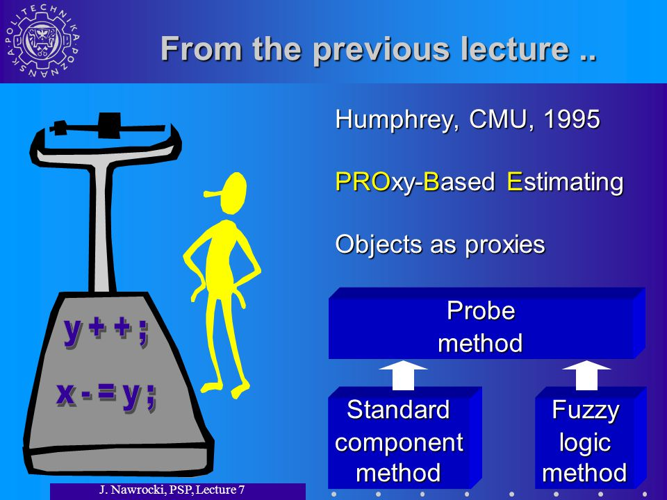 J.Nawrocki, PSP, Lecture 7 From the previous lecture..
