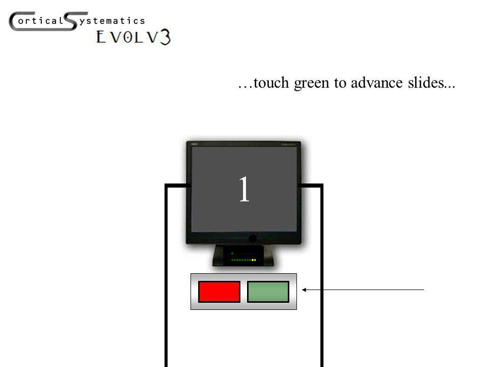 1 …touch green to advance slides...