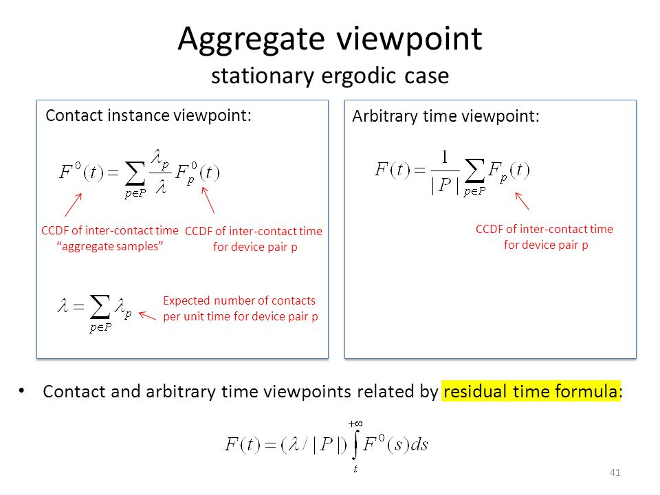 Aggregate viewpoint stationary ergodic case Contact instance viewpoint: 41 CCDF of inter-contact time aggregate samples CCDF of inter-contact time for device pair p Expected number of contacts per unit time for device pair p Arbitrary time viewpoint: CCDF of inter-contact time for device pair p Contact and arbitrary time viewpoints related by residual time formula: