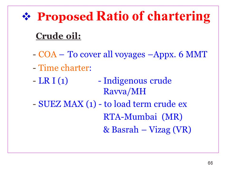 66 Proposed Ratio of chartering Crude oil: -COA – To cover all voyages –Appx. 6 MMT -Time charter: -LR I (1) - Indigenous crude Ravva/MH -SUEZ MAX (1)