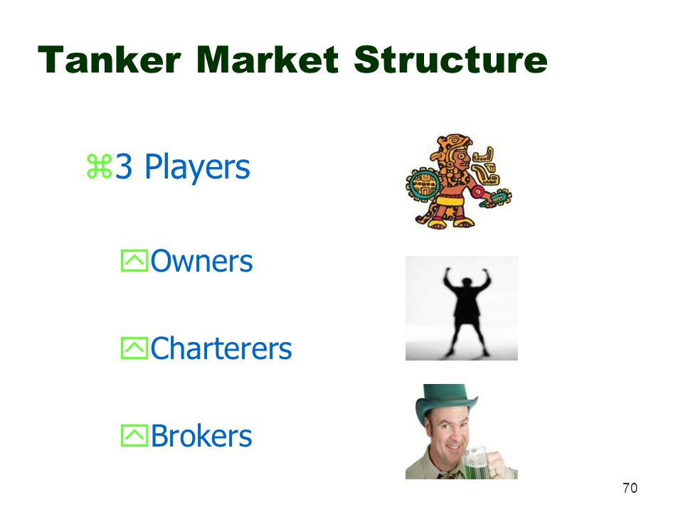 70 Tanker Market Structure z3 Players yOwners yCharterers yBrokers