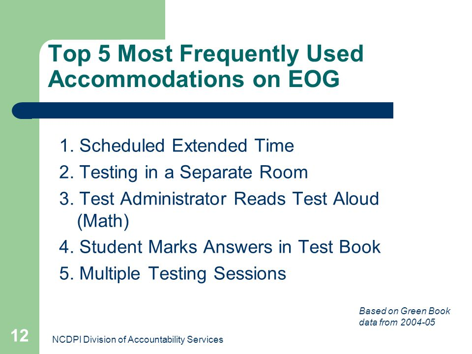 NCDPI Division of Accountability Services 12 Top 5 Most Frequently Used Accommodations on EOG 1. Scheduled Extended Time 2. Testing in a Separate Room