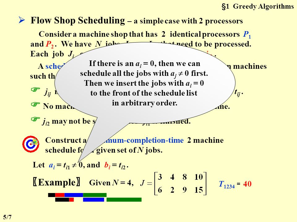 §1 Greedy Algorithms The Multiprocessor Case – N jobs on P processors Example P = 3 job time j1j1 j2j2 j3j3 j4j4 35610 j5j5 j6j6 j7j7 j8j8 11141518 j9