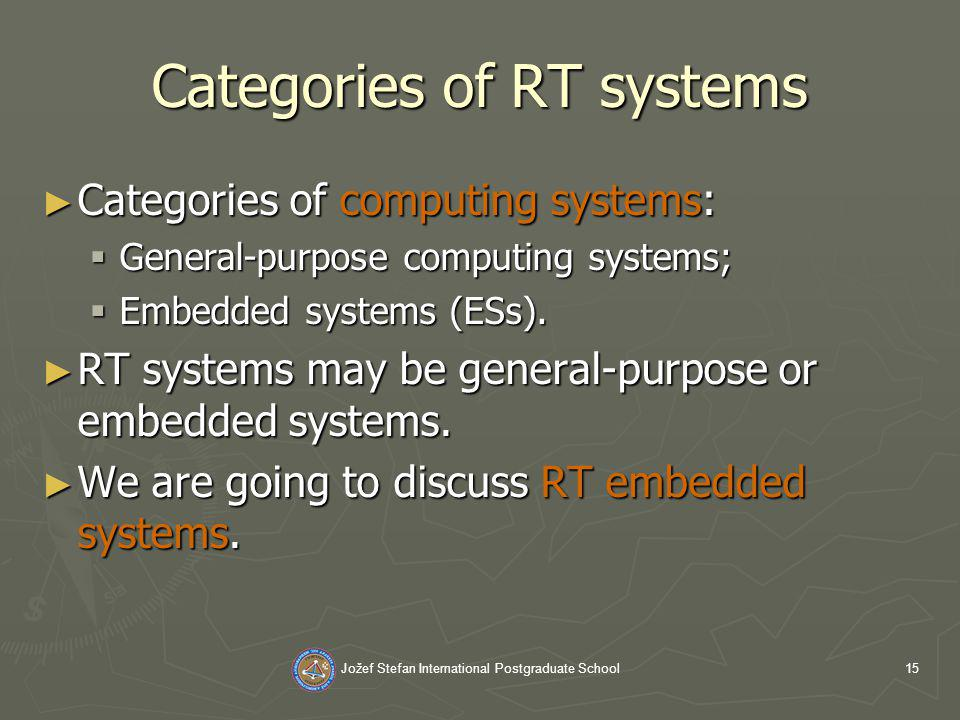 Jožef Stefan International Postgraduate School15 Categories of RT systems Categories of computing systems: Categories of computing systems: General-purpose computing systems; General-purpose computing systems; Embedded systems (ESs).