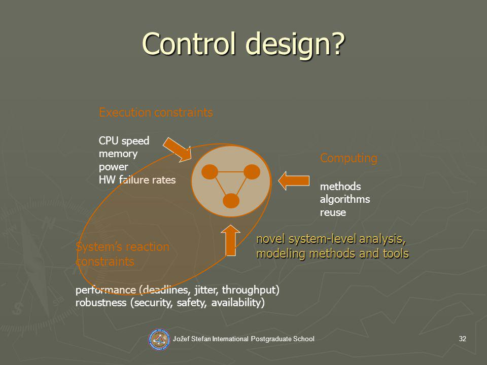 Jožef Stefan International Postgraduate School32 Control design.