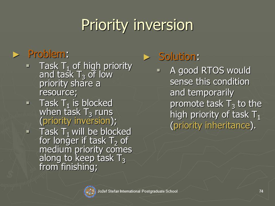 Jožef Stefan International Postgraduate School74 Priority inversion Problem: Problem: Task T 1 of high priority and task T 3 of low priority share a resource; Task T 1 of high priority and task T 3 of low priority share a resource; Task T 1 is blocked when task T 3 runs (priority inversion); Task T 1 is blocked when task T 3 runs (priority inversion); Task T 1 will be blocked for longer if task T 2 of medium priority comes along to keep task T 3 from finishing; Task T 1 will be blocked for longer if task T 2 of medium priority comes along to keep task T 3 from finishing; Solution: A good RTOS would sense this condition and temporarily promote task T 3 to the high priority of task T 1 (priority inheritance).