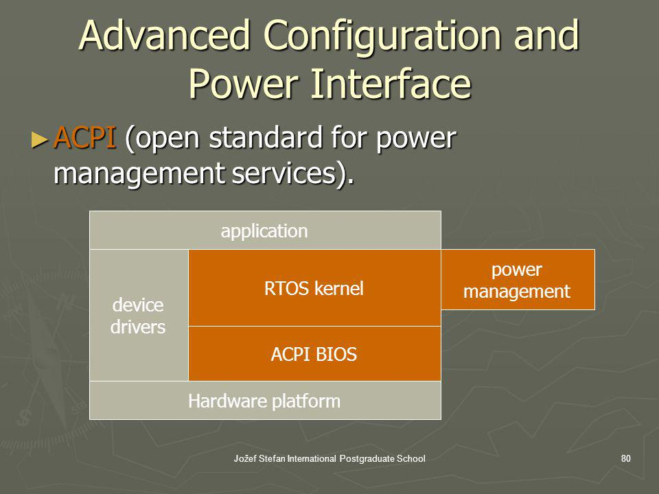 Jožef Stefan International Postgraduate School80 Advanced Configuration and Power Interface ACPI (open standard for power management services).