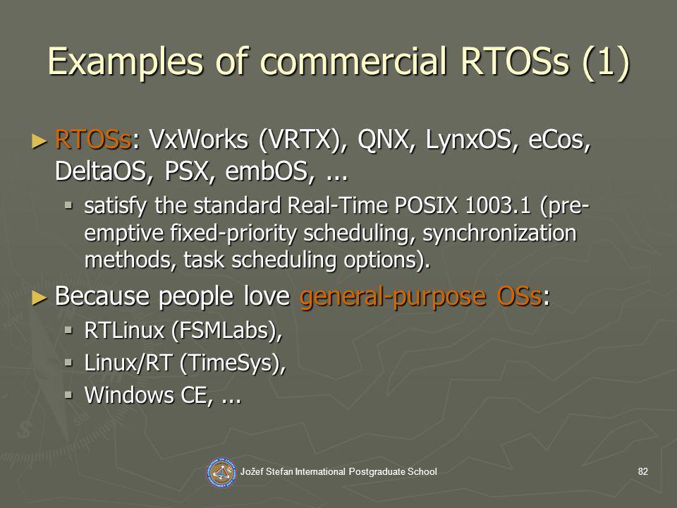 Jožef Stefan International Postgraduate School82 Examples of commercial RTOSs (1) RTOSs: VxWorks (VRTX), QNX, LynxOS, eCos, DeltaOS, PSX, embOS,...