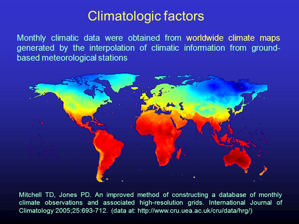 Monthly climatic data were obtained from worldwide climate maps generated by the interpolation of climatic information from ground- based meteorologic