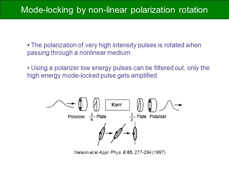 The polarization of very high intensity pulses is rotated when passing through a nonlinear medium Using a polarizer low energy pulses can be filtered out, only the high energy mode-locked pulse gets amplified Nelson et al Appl.