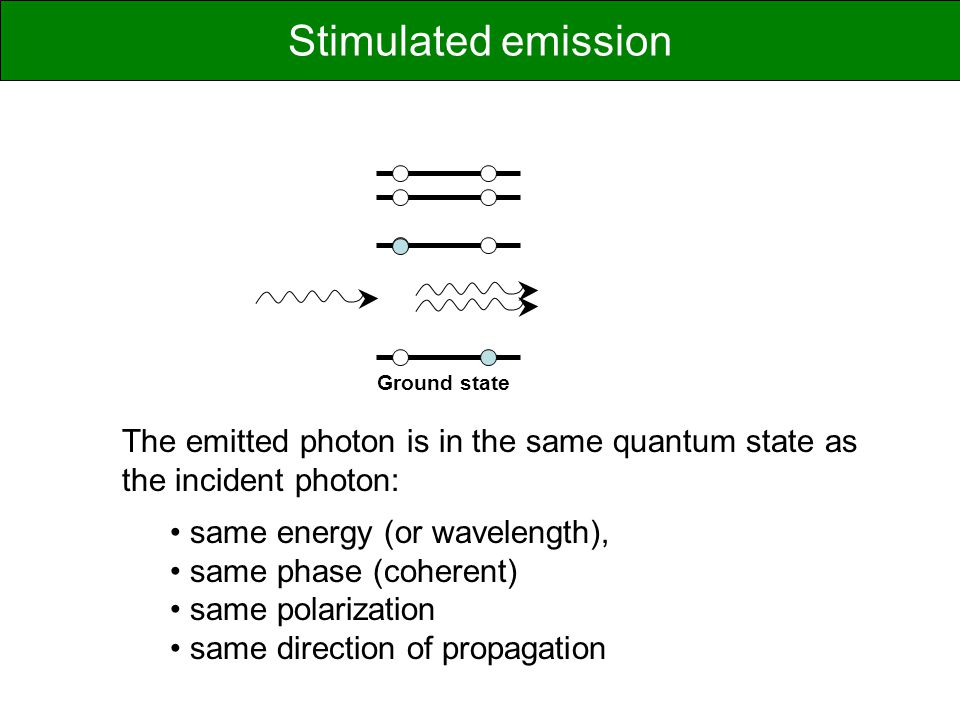 Ground state The emitted photon is in the same quantum state as the incident photon: same energy (or wavelength), same phase (coherent) same polarization same direction of propagation Stimulated emission