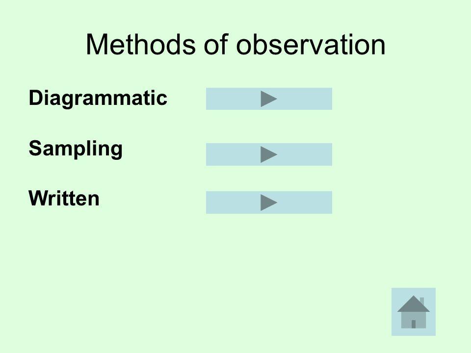Methods of observation Diagrammatic Sampling Written