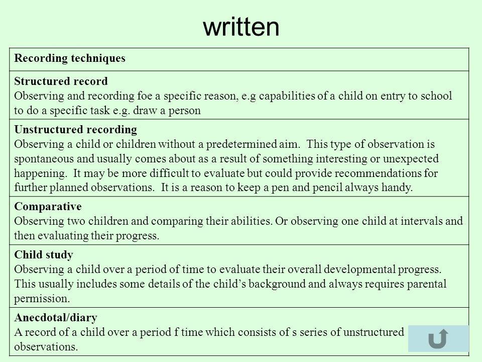 Recording techniques Structured record Observing and recording foe a specific reason, e.g capabilities of a child on entry to school to do a specific