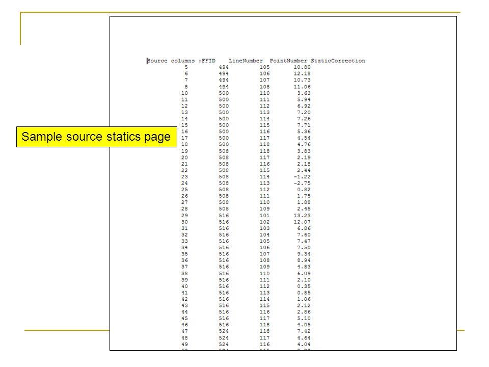 Sample source statics page