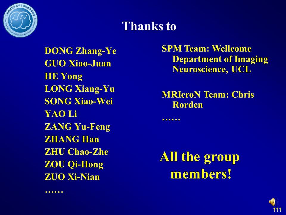 111 Thanks to DONG Zhang-Ye GUO Xiao-Juan HE Yong LONG Xiang-Yu SONG Xiao-Wei YAO Li ZANG Yu-Feng ZHANG Han ZHU Chao-Zhe ZOU Qi-Hong ZUO Xi-Nian …… Al