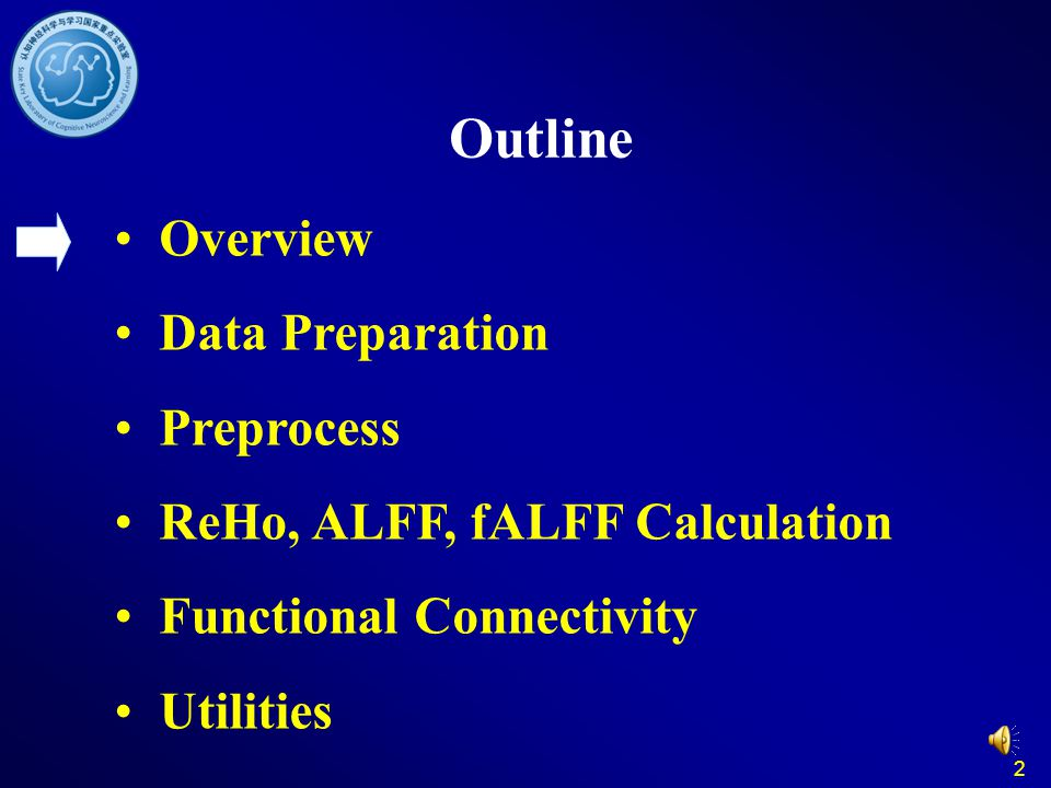 2 Outline Overview Data Preparation Preprocess ReHo, ALFF, fALFF Calculation Functional Connectivity Utilities
