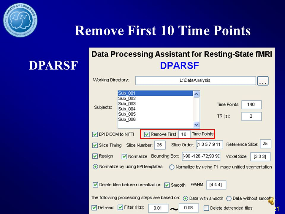 21 Remove First 10 Time Points DPARSF