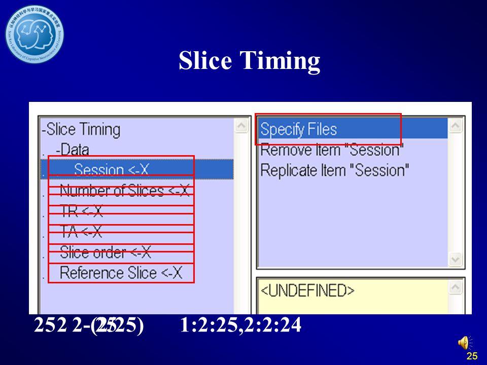 25 Slice Timing 1:2:25,2:2:242522-(2/25)25