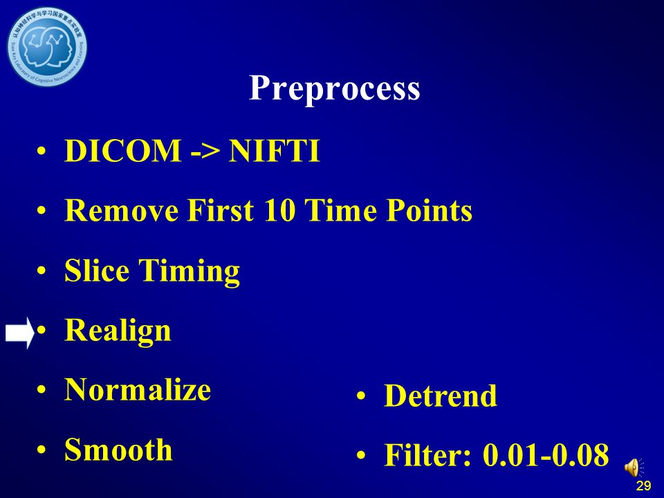 29 Preprocess DICOM -> NIFTI Remove First 10 Time Points Slice Timing Realign Normalize Smooth Detrend Filter: 0.01-0.08