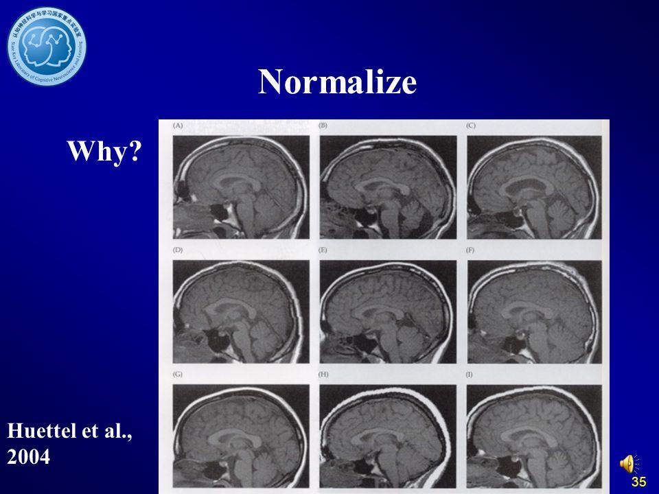35 Normalize Why? Huettel et al., 2004