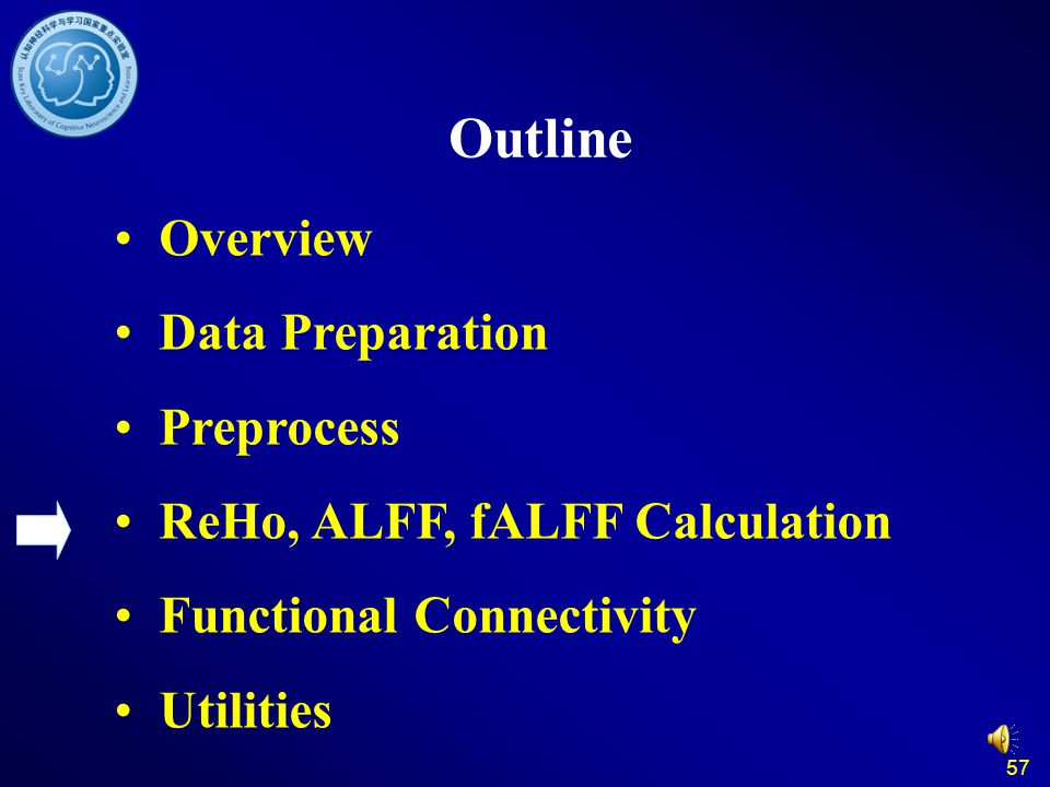 57 Outline Overview Data Preparation Preprocess ReHo, ALFF, fALFF Calculation Functional Connectivity Utilities