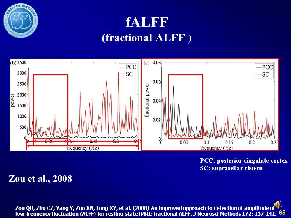 65 fALFF (fractional ALFF ) Zou et al., 2008 Zou QH, Zhu CZ, Yang Y, Zuo XN, Long XY, et al. (2008) An improved approach to detection of amplitude of