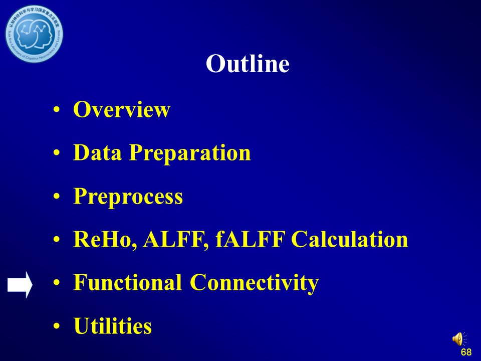 68 Outline Overview Data Preparation Preprocess ReHo, ALFF, fALFF Calculation Functional Connectivity Utilities
