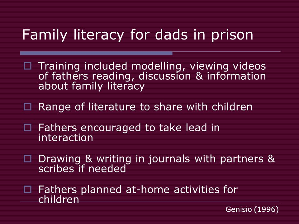 Family literacy for dads in prison Training included modelling, viewing videos of fathers reading, discussion & information about family literacy Range of literature to share with children Fathers encouraged to take lead in interaction Drawing & writing in journals with partners & scribes if needed Fathers planned at-home activities for children Genisio (1996)