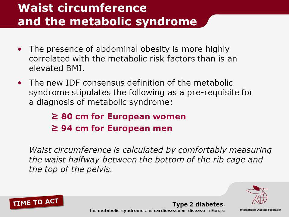TIME TO ACT Type 2 diabetes, the metabolic syndrome and cardiovascular disease in Europe The presence of abdominal obesity is more highly correlated w