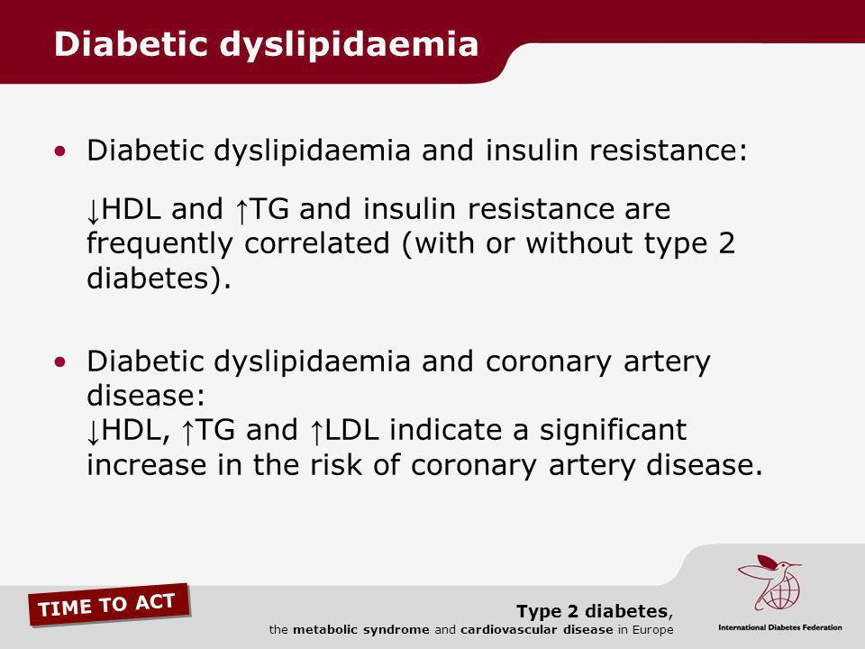 TIME TO ACT Type 2 diabetes, the metabolic syndrome and cardiovascular disease in Europe Diabetic dyslipidaemia and insulin resistance: HDL and TG and