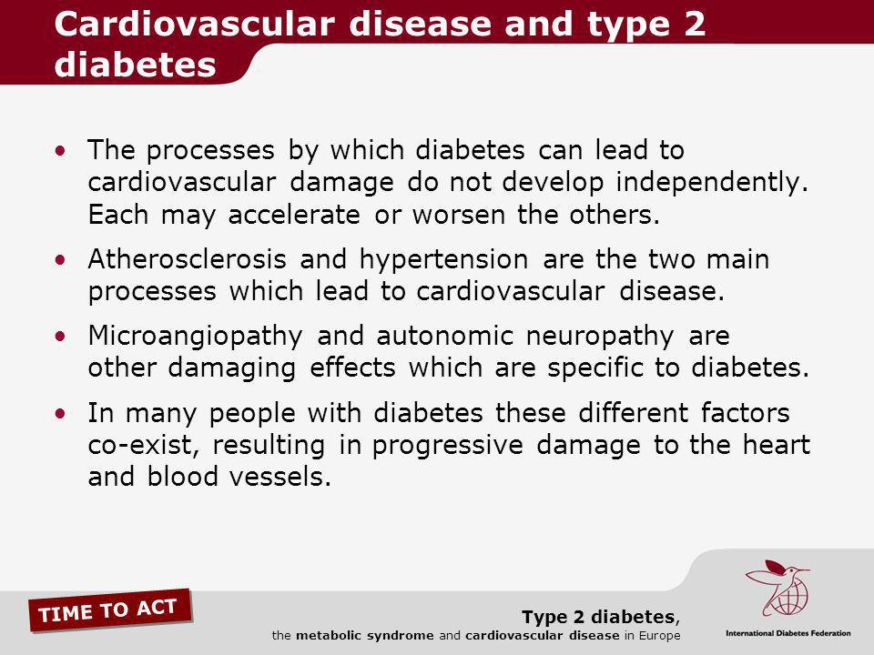 TIME TO ACT Type 2 diabetes, the metabolic syndrome and cardiovascular disease in Europe The processes by which diabetes can lead to cardiovascular da