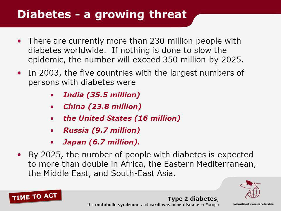 TIME TO ACT Type 2 diabetes, the metabolic syndrome and cardiovascular disease in Europe There are currently more than 230 million people with diabete