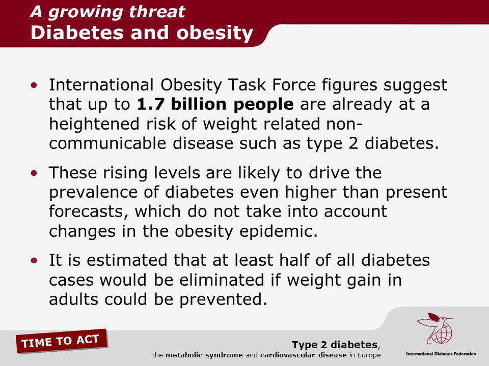 TIME TO ACT Type 2 diabetes, the metabolic syndrome and cardiovascular disease in Europe International Obesity Task Force figures suggest that up to 1