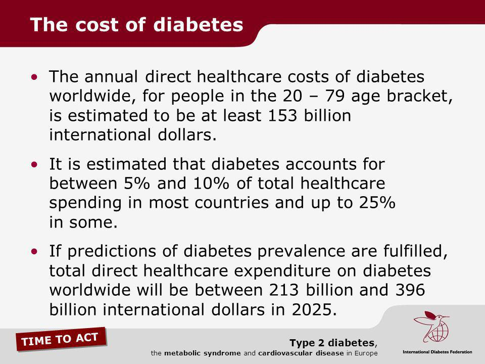 TIME TO ACT Type 2 diabetes, the metabolic syndrome and cardiovascular disease in Europe The annual direct healthcare costs of diabetes worldwide, for