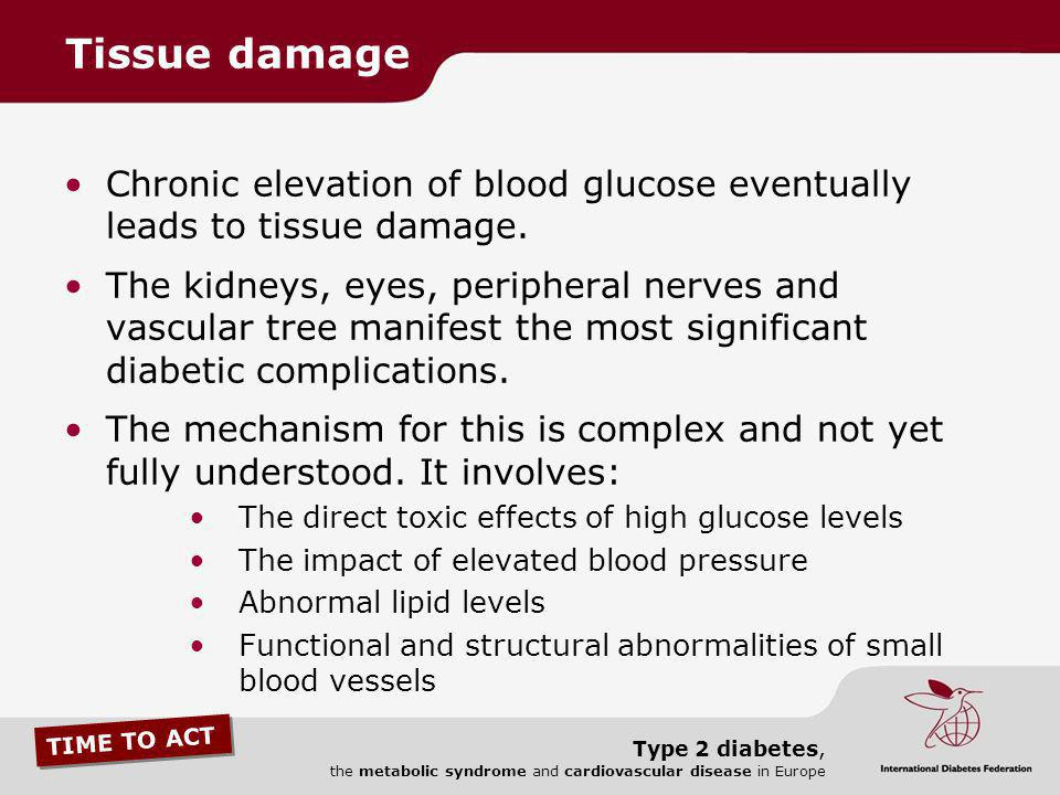 TIME TO ACT Type 2 diabetes, the metabolic syndrome and cardiovascular disease in Europe The combination of nerve damage and insufficient blood supply in the legs and feet of people with diabetes often leads to painful ulcers, infection and gangrene.