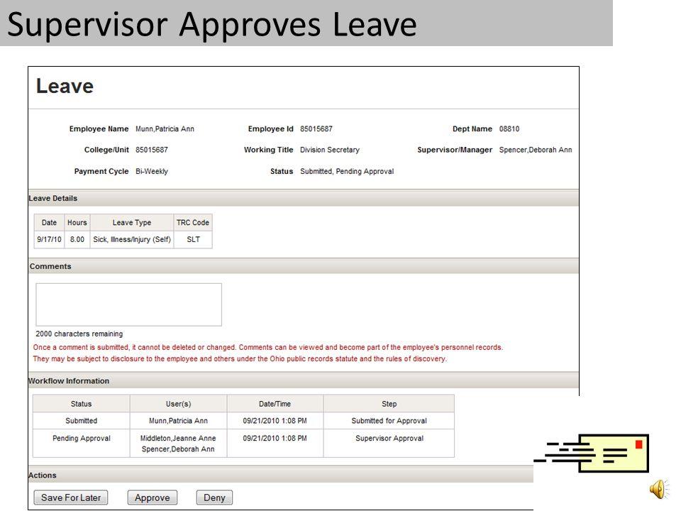 2. Supervisor Approves Leave