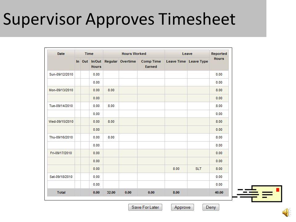 4. Supervisor Approves Timesheet