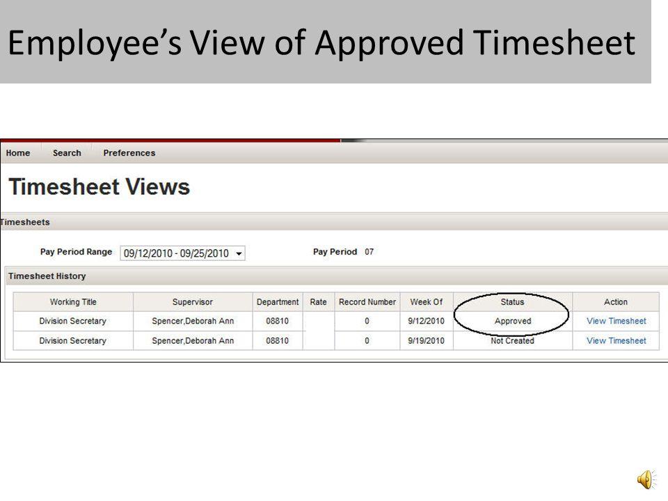 Supervisor Approves Timesheet