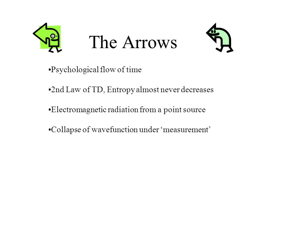 The Arrows 2nd Law of TD, Entropy almost never decreases Psychological flow of time Collapse of wavefunction under measurement Electromagnetic radiation from a point source