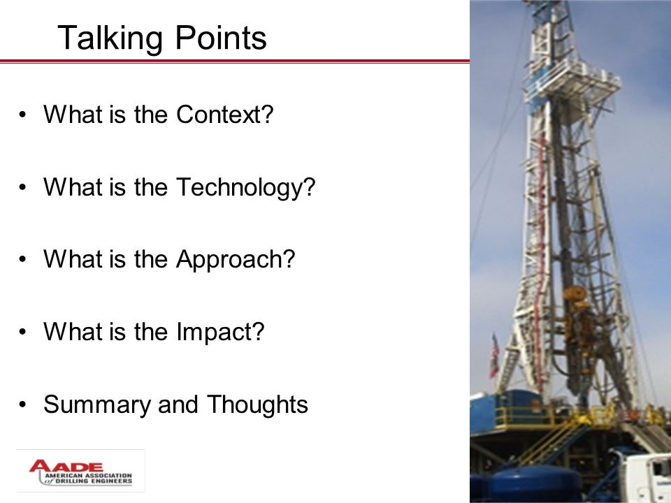 Talking Points What is the Context.What is the Technology.
