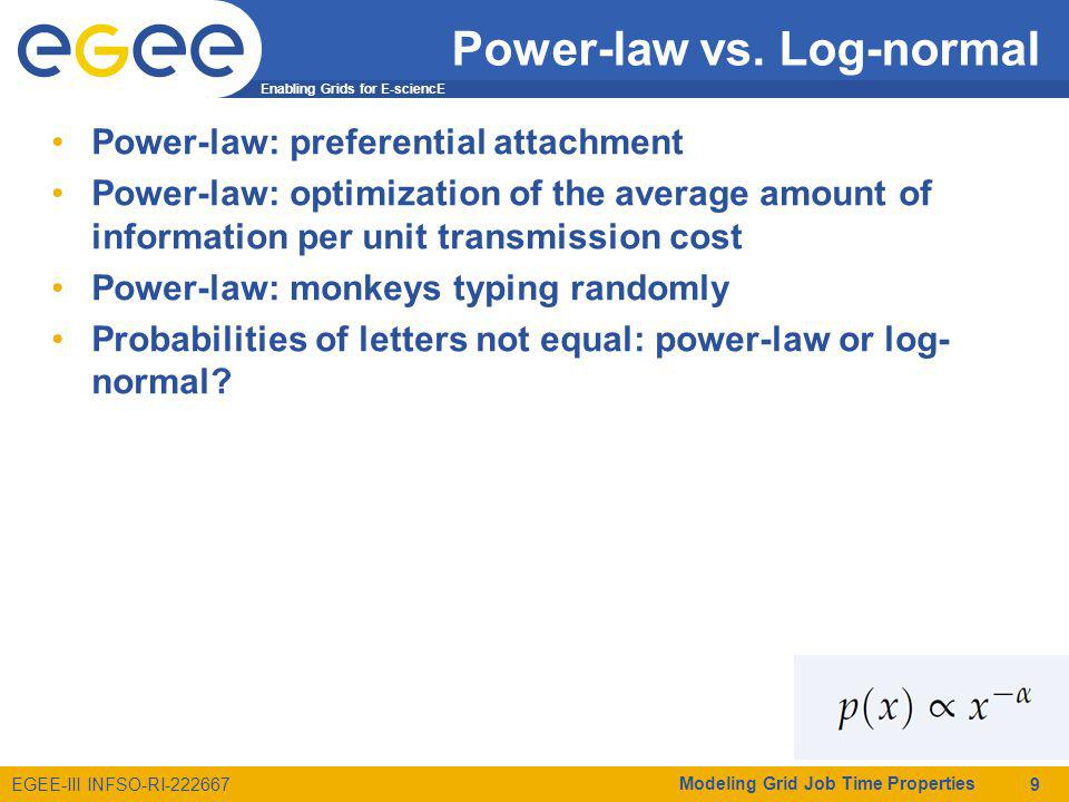 Enabling Grids for E-sciencE EGEE-III INFSO-RI-222667 Power-law vs.
